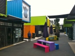 Some of the bright colors in the container mall