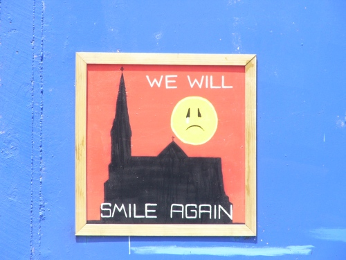 A sign on a building in downtown Christchurch