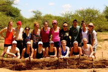 UST students after building erosion dams at Mokolodi, Botswana